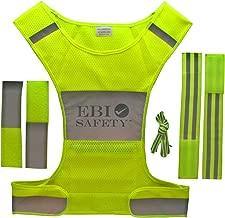 Reflective Running Vest Set. Includes Mesh Vest (with Pocket)/2 Reflective Bands/Shoelaces/2 Adjustment Straps. for Jogging/Biking/Walking/Cycling/Motorcycle Riding