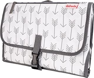 Dabuda Portable Changing Pad w/Head Cushion | Carrying Bag for Babies & Toddlers | Waterproof & Detachable Pad | 3 Pockets Clutch for Travel | Great Baby Shower Gift | Grey Arrows Gender Neutral