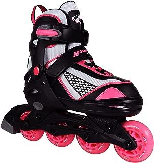 Lenexa Venus Kids Rollerblades - Patines Roller Blades for a Kid (Girl/Girls, Boy/Boys) - Adjustable Comfortable Inline Skates for Children (Black/Pink)