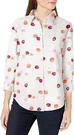 Amazon Essentials Camicia in Lino a Maniche Lunghe Donna