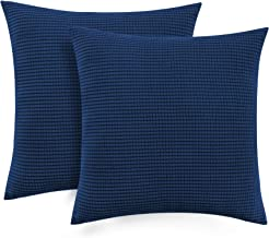 Pillow Case Covers Set of 2 18x18 with Zipper Navy Blue Throw Pillow Cushion Cases Square Pillow Covers for Sofa Car Couch Sofa 18 x 18 Inch 45 x 45 cm, Navy