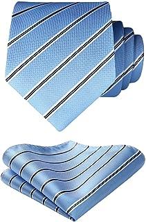 HISDERN Panuelo de corbata azul para hombre Conjunto clasico de corbata y bolsillo para boda