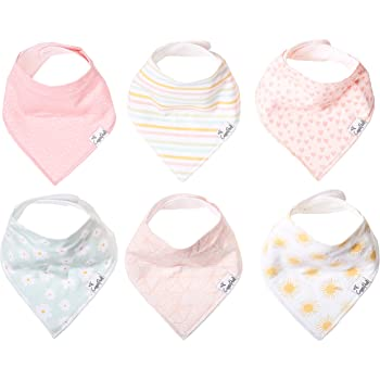 "Baby Bandana Drool Bibs for Drooling and Teething 6 Pack Gift Set for Girls ""Sunny Set"" by Copper Pearl"
