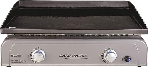 Campingaz Plancha Gaz BF L, 2 Brûleurs en Acier, Puissance 6 kW avec la Technologie Blue Flame, Plancha à Poser, Larg...