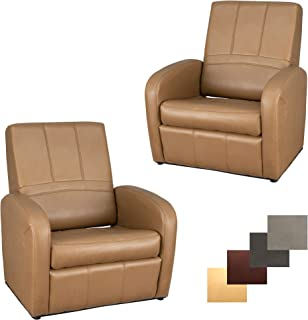 RecPro Charles RV Gaming Chair Ottoman Conversion | Built-in Storage | RV Furniture | Great for Teens | Toffee | 2 Pack