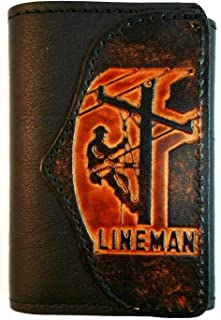 Mens Handcrafted Leather Trifold Wallet Lineman