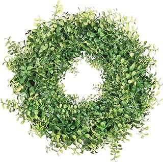 HEBE 22 Inch Large Green Front Door Wreath Artificial Greenery Boxwood Welcome Door Wreath for Front Door Indoor Outdoor Wall Home Holiday Decor All Seasons