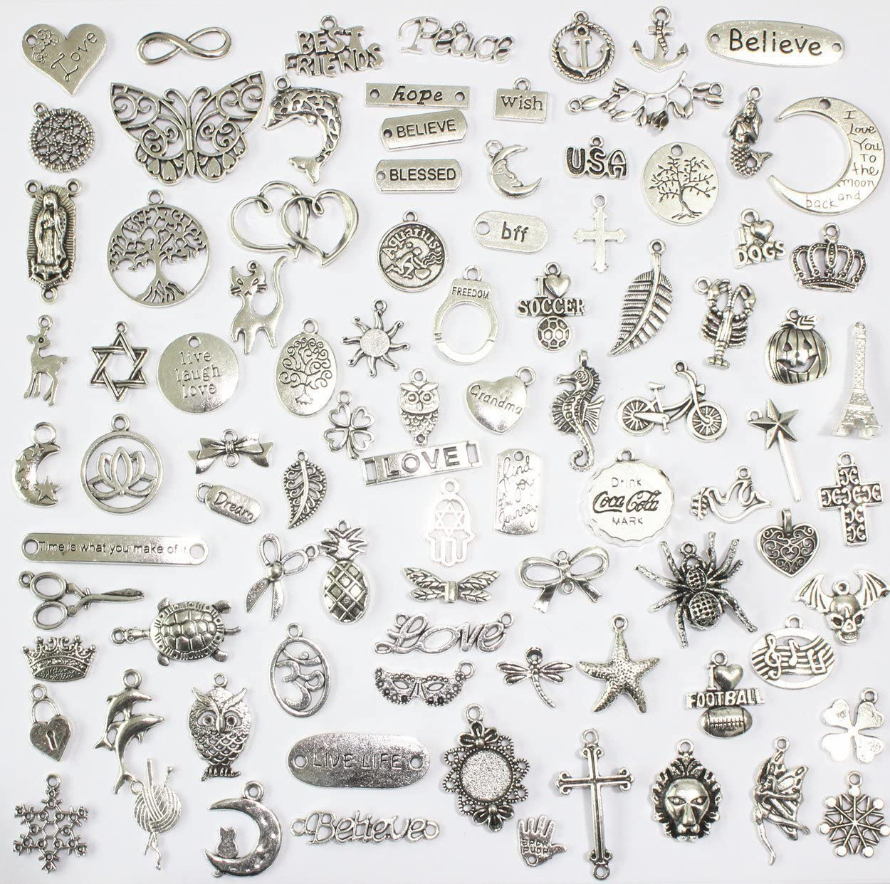 OTAOTP 450 Pcs Jewelry Making Silver Charms,Bracelet Charms,Antique Alloy Charms Pendants,Jewelry Making Accessories Crafting Supplies for DIY Necklace Bracelet Silver and Gold