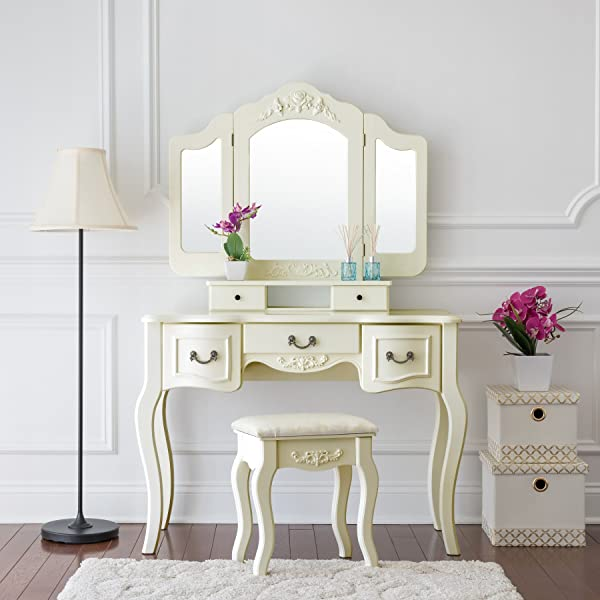 Fineboard FB VT04 IVW Vanity Beauty Station Makeup Table And Wooden Stool 3 Mirrors And 5 Organization Drawers Set Ivory White