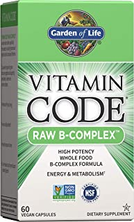 Garden of Life Vitamin B Complex - Vitamin Code Raw B Complex - 60 Vegan Capsules, High Potency B Complex Vitamins for Ene...
