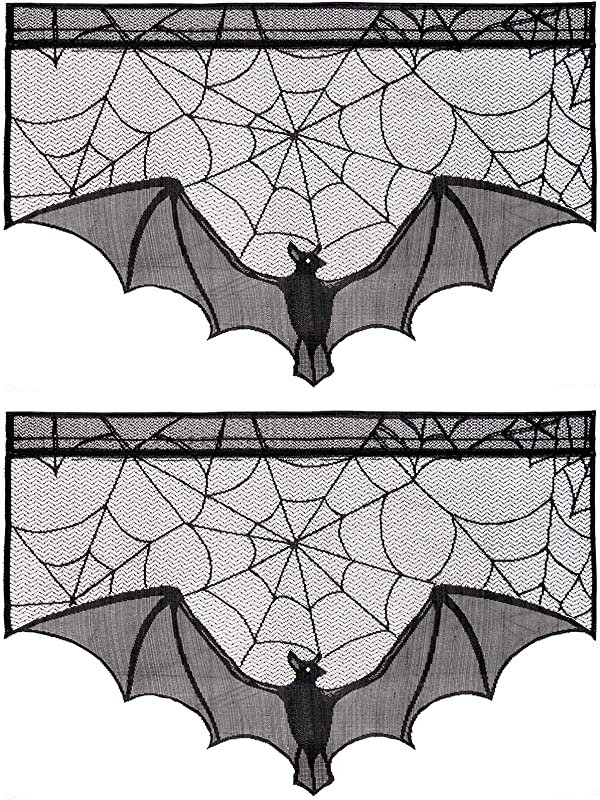 ANPHSIN 2 Pieces April Fools Day Halloween Decoration Lace Cobweb Bats Fireplace Mantels Valances Covers