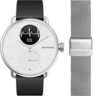 Withings Scanwatch 38 mm Blanc Lot avec 1 Bracelet Noir FKM 18 mm + 1 Bracelet Maillle Milanaise 18 mm - Montre Connectée ...
