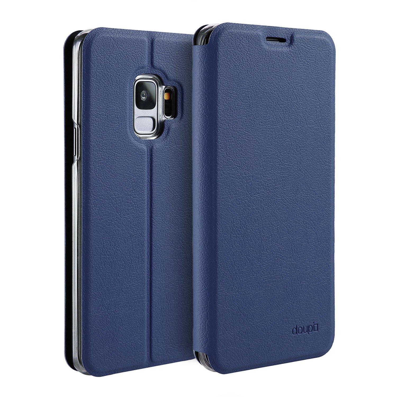 doupi Deluxe FlipCover para Samsung Galaxy S9, Carcasa Case magnético Funda Caso tirón Estilo Libro Protector de Cuero Artificial, Azul: Amazon.es: Electrónica