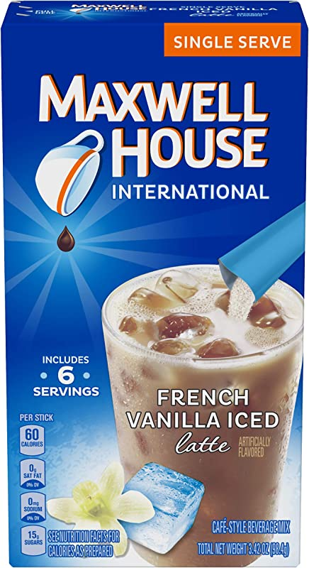 Maxwell House International Cafe French Vanilla Instant Iced Coffee 48 Count 8 Packs Of 6