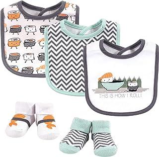 Hudson Baby Unisex Baby Cotton Bib and Sock Set, Sushi, One Size