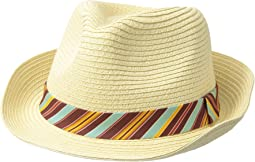 Straw Fedora w/ Stripe Pattern