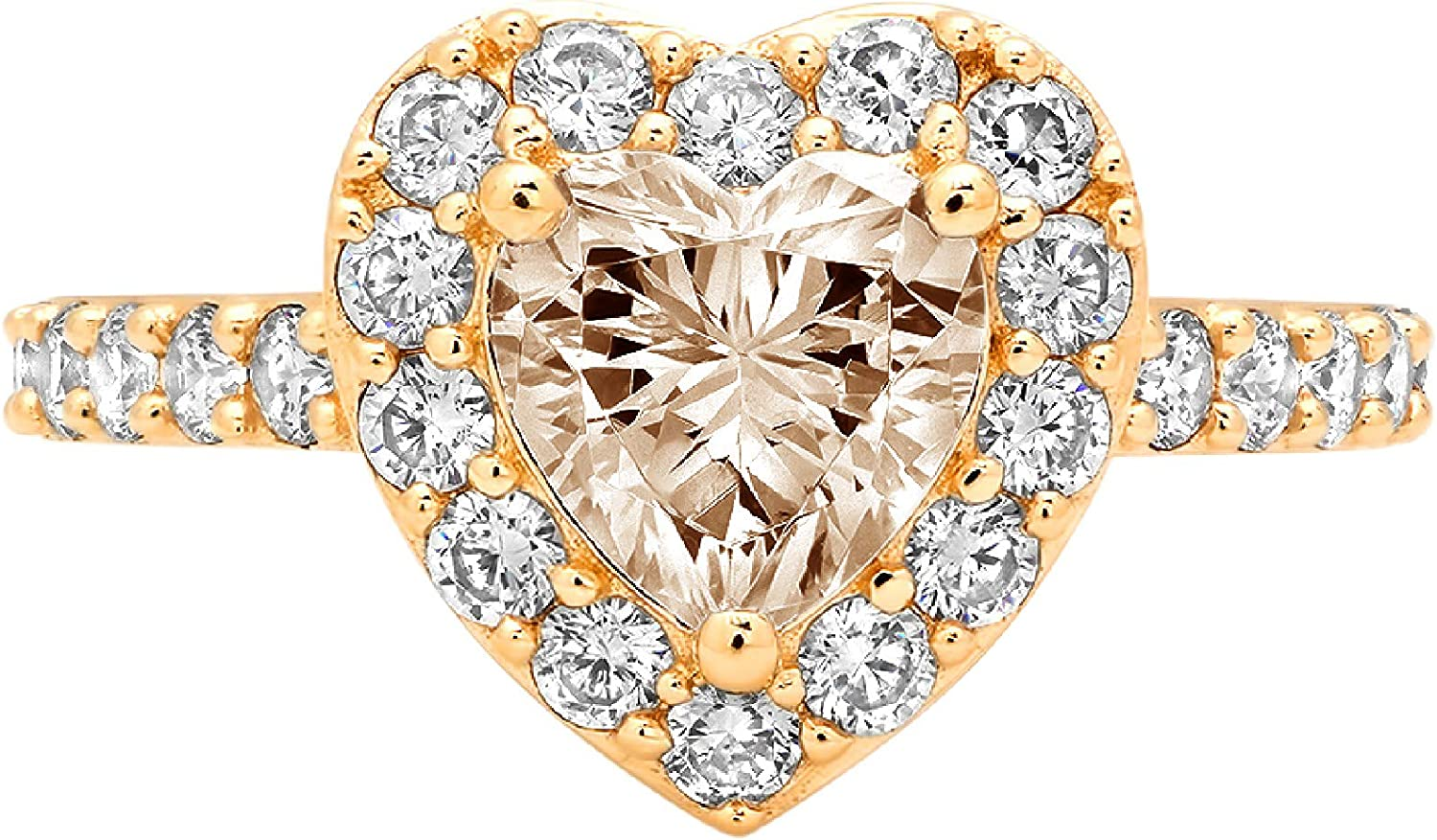 2.22ct Brilliant Heart Cut Solitaire with Accent Halo Brown Champagne Simulated Diamond CZ VVS1 Designer Modern Statement Ring Solid 14k Yellow Gold Clara Pucci