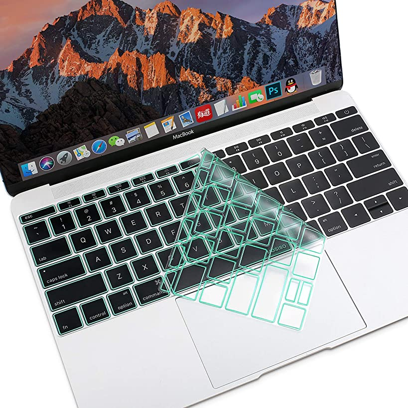 MOSISO Premium Soft TPU Ultra Thin Transparent Keyboard Cover Protector Compatible MacBook Pro 13 Inch 2017 & 2016 Release A1708 No Touch Bar & New MacBook 12 Inch A1534 Protective Skin, Mint Green