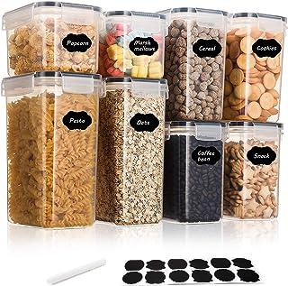 Aitsite Lot de 8 boîtes hermétiques en plastique sans BPA pour nourriture, sucre, farine et pâtisserie - Passent au lave-v...
