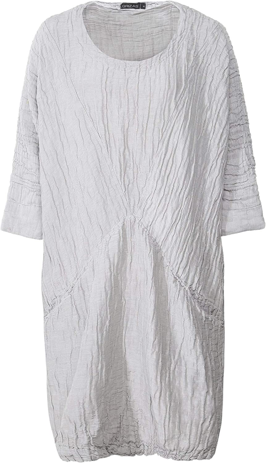 Grizas Women's Linen and Silk Blend Crinkled Tunic Beige