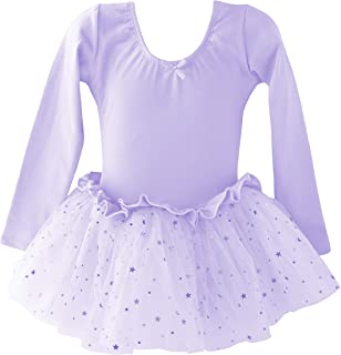 Dancina Girls Skirted Leotard Sparkle Long Sleeve Tutu Ballet Dress Front Lined