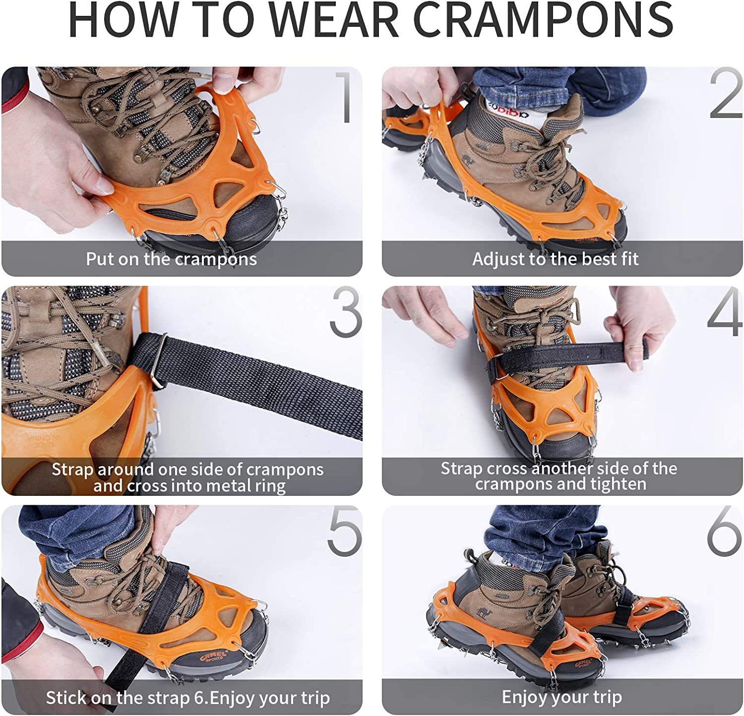Hewolf Crampons Ice Cleats Traction Snow Grips for Boots Shoes