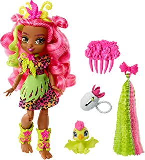 Cave Club Fernessa Doll 10-inch, Pink Hair Poseable Prehistoric Fashion Doll with Dinosaur Pet and Accessories, Gift for 4...
