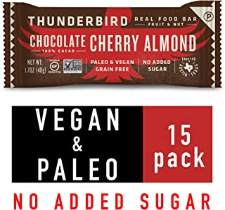 Thunderbird Paleo and Vegan Snacks - Real Food Energy Bars - Fruit & Nut Nutrition Bars - No Added Sugar, Grain and Gluten Free, Non-GMO, 15 Pack (Chocolate Cherry Almond)