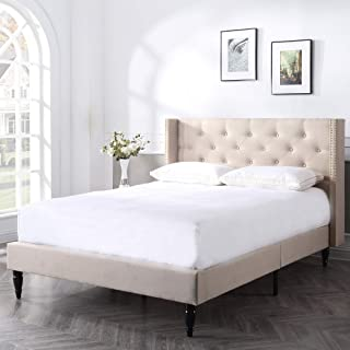 Classic Brands DeCoro Berkeley Upholstered Platform Bed   Headboard and Metal Frame with Wood Slat Support   Linen, King