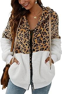 Women's Hoodies - Zipper Fuzzy Faux Fleece Leopard Patchwork Hooded Sweatshirt Coat Winter Sherpa Outerwear Pockets