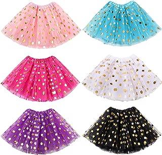 ACEHOOD 6 Pcs Tutus for Girls 3 Layer Ballet Tutus Skirts Birthday Party Favor Princess Dress Up