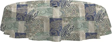 "Elrene Home Fashions Vinyl Tablecloth with Polyester Flannel Backing Paisley Scroll Easy Care Spillproof, 70"" RD BBQ, Taupe Blue Green"