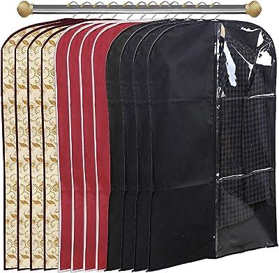 Kuber Industries 12 Pieces Half Transparent Non Woven Men's Coat Blazer Suit Cover (Black & Maroon & Brown) -CTKTC41662