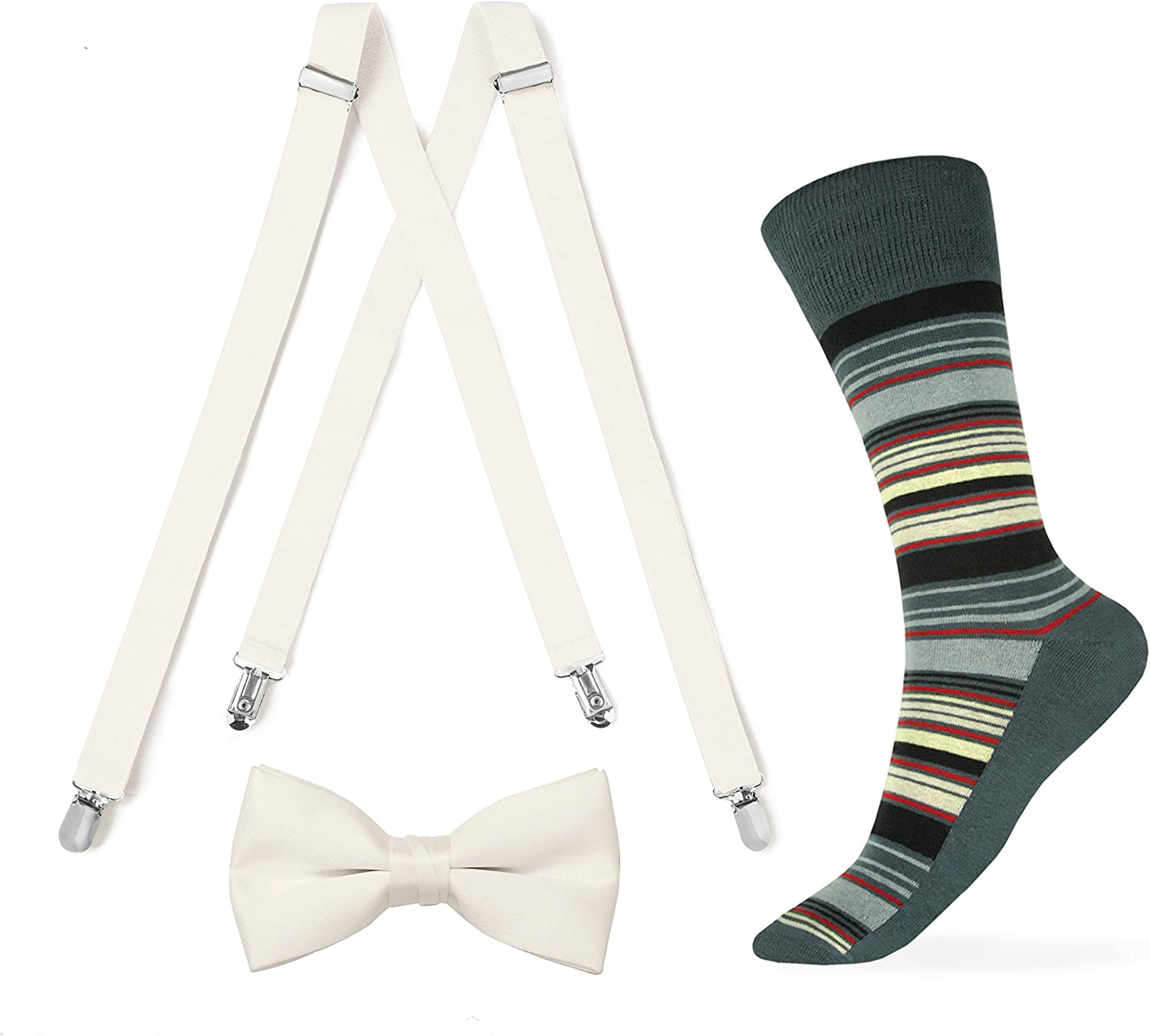 Ivory Suspender and Bow tie with Striped Sock