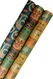 K-Kraft Vintage Prints CHRISTMAS KRAFT WRAPPING PAPER (30 inches x 180 inches per roll = 112.5 square feet)