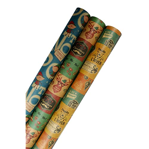 5161c690ea65 K-Kraft Vintage Prints CHRISTMAS KRAFT WRAPPING PAPER (30 inches x 180  inches per