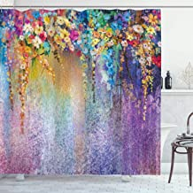 Ambesonne Flower Shower Curtain, Abstract Herbs Weeds Alternative Medicine Blossoms Ivy Back Florets Shrubs Design, Cloth Fabric Bathroom Decor Set with Hooks, 70