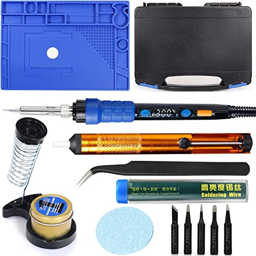 """popular YIHUA 928D Hand Soldering Iron Kit bundle with online 17.32"""" x 12.20"""" M180 Electronic Repair Mat with Iron Holder, Cleaning Kit, and Accessories (14 outlet sale Items) sale"""