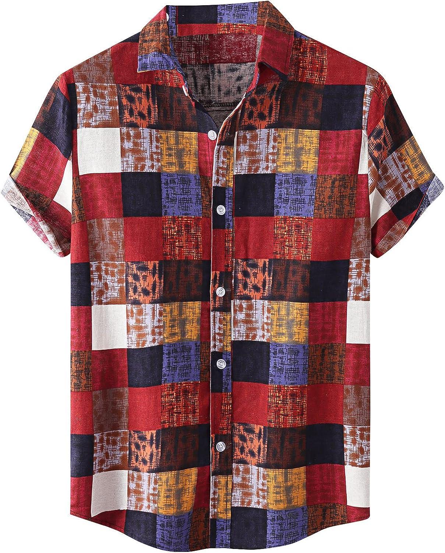 Men's Linen Plaid Shirts Regular-Fit Short-Sleeve Lightweight Shirt Casual Button Up Shirts Tops for Men