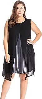 Chicwe Women's Plus Size Chiffon Tunic Dress Multi Layers Split Pleat 1X-4X