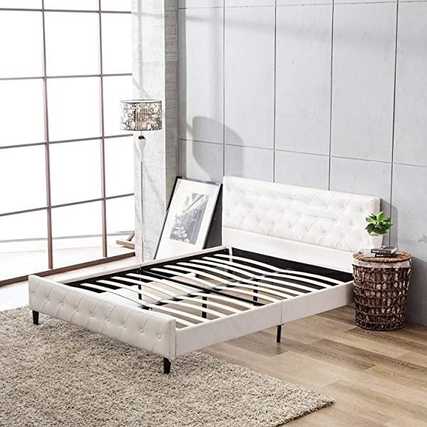 Mecor Upholstered Faux Leather Platform Bed With Solid Wooden Slat Support And Button Tufted Headboard And Footboard White Full Size
