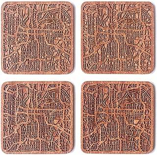 Kansas City Map Coaster, Set of 4, Sapele Wooden Coaster with city map, Multiple city optional, Handmade