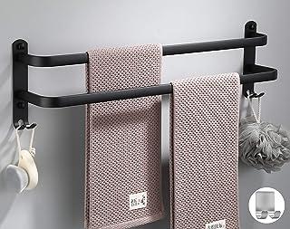 Sèche-Serviettes de Salle de Bain Sèche-Serviettes Noir Mat avec Deux Porte-Serviettes et Crochet Design, Sèche-Serviettes...