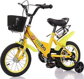 دراجة أطفال مع عجلات للتدريب وزجاجة مياه وسلة أمامية 35.56 سم، لون أصفر من مايبي كيو