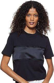 Calvin Klein Women's TONAL TAPE SATIN INSERT TEE S/S Knit Top