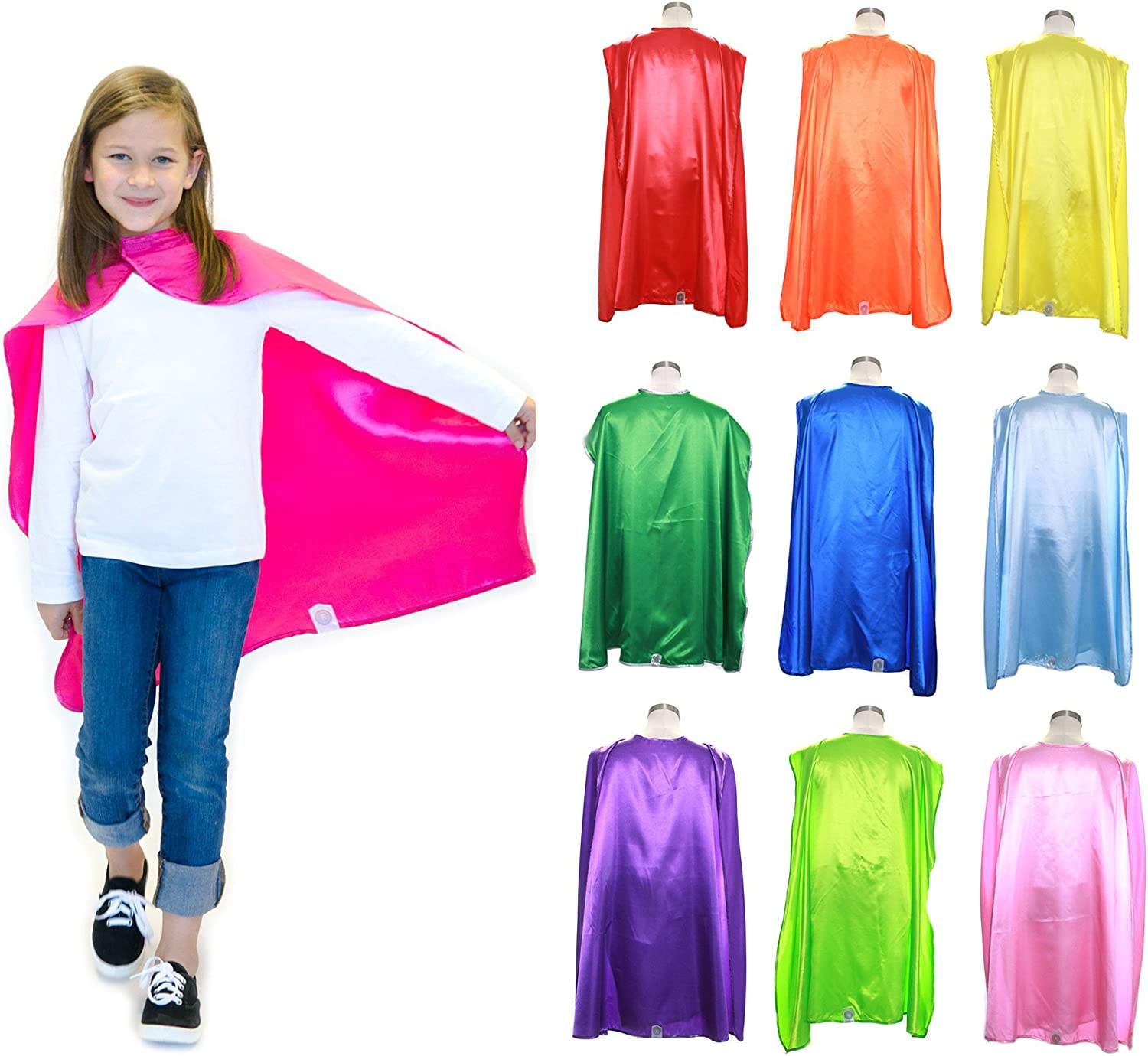 Everfan Youth Superhero Cape Party Pack   Set of 10 Polyester Satin Capes   Bulk Super Hero Cape  Kids