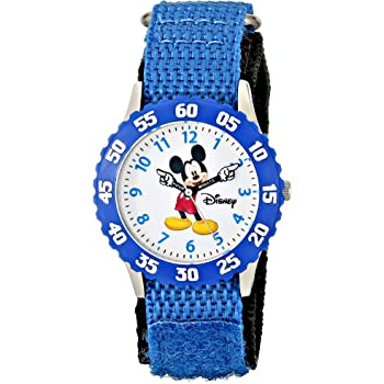 """Disney Kids' W000228 """"Mickey Mouse Time Teacher"""" Stainless Steel Watch with Blue Nylon Band"""