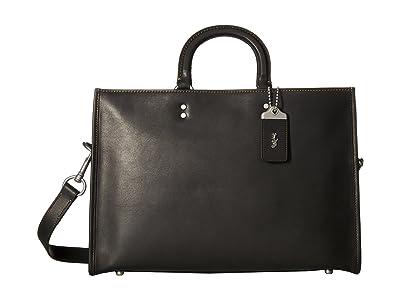 COACH Rouge Brief in Glovetan Leather (Black) Briefcase Bags