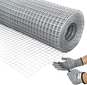 36'' x 100' 1/2inch Hardware Cloth, 19 Gauge Galvanized Welded Cage Wire, Poultry Hardware Cloth Wire Metal mesh, Metal Square Chicken Snake Fencing Gopher Fence Racoons Rabbit Pen Gutter