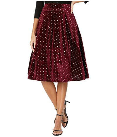 Unique Vintage Retro Style High-Waist Vivien Swing Skirt (Burgundy/Silver Dot) Women